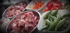 Oxtail stew preparation work
