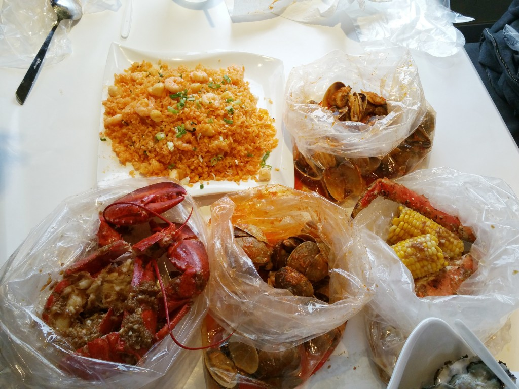 Lots of seafood and fried rice