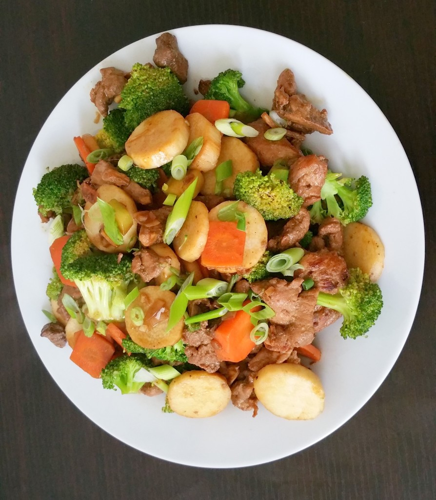 Pork stirfry with nagaimo