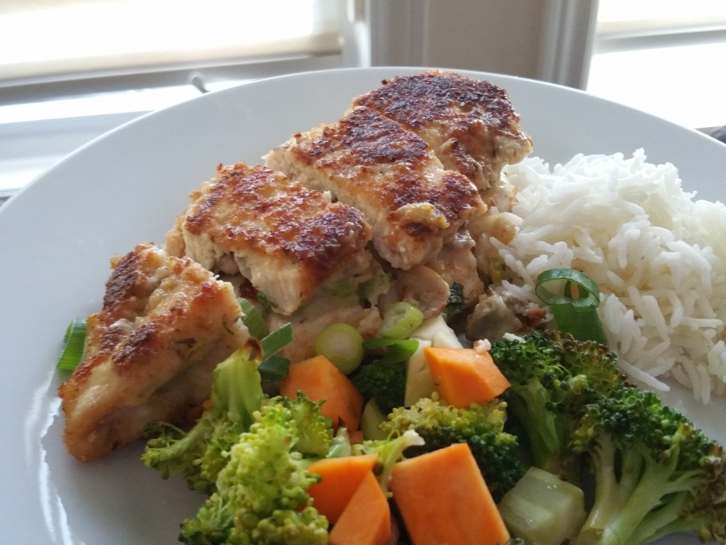 Mushroon and Mozzarella Stuffed Chicken with Garlic Lemon Broccoli
