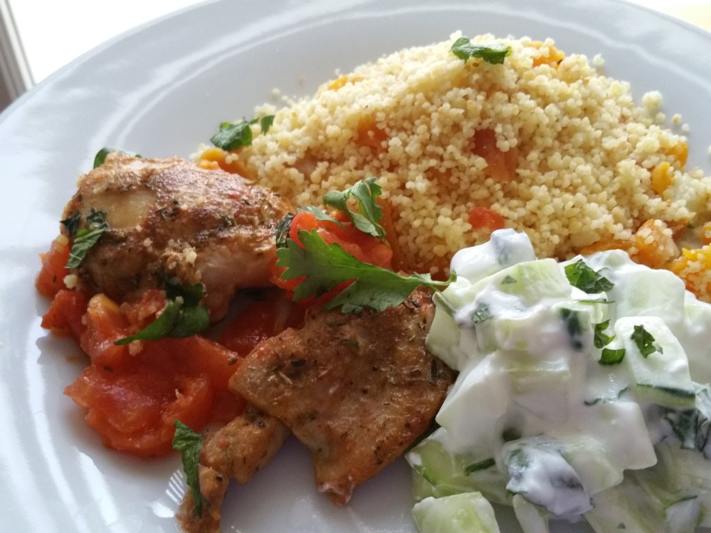 Moroccan Style Chicken Thighs with Couscous and Apricot Sauce from One Kitchen