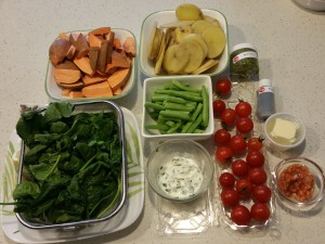 Cooking 2 meals at once. Prepping the ingredients