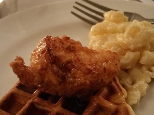 Southern Fried Chicken on a waffle with mac and cheese